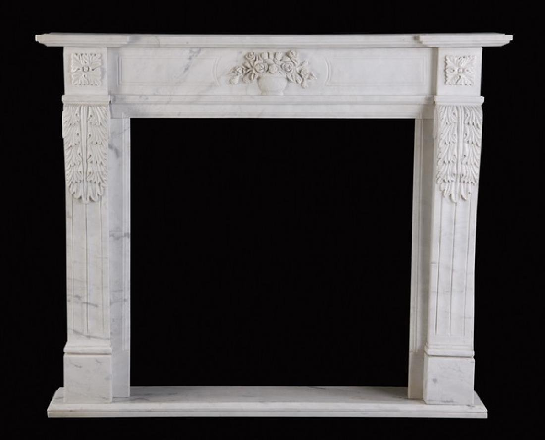 Hand carved Louis XVI style marble mantel