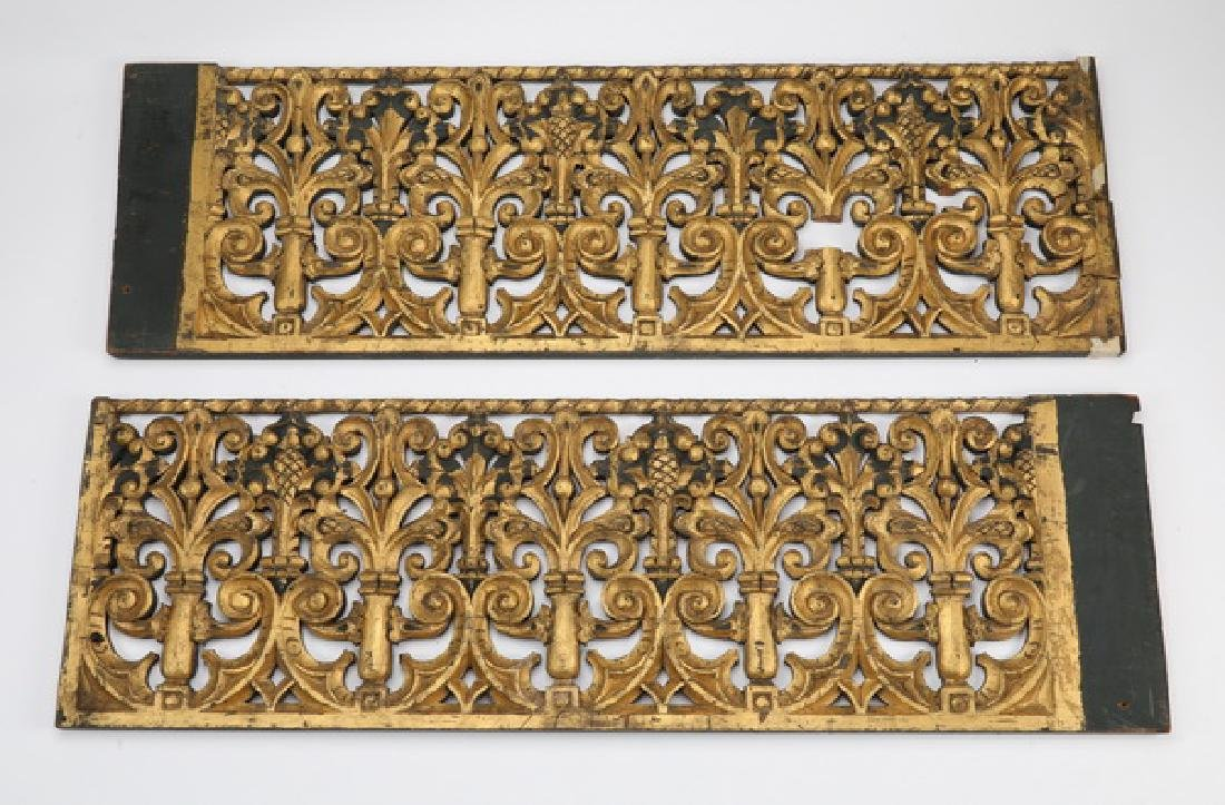 (2) 19th c. carved and gilt architectural panels