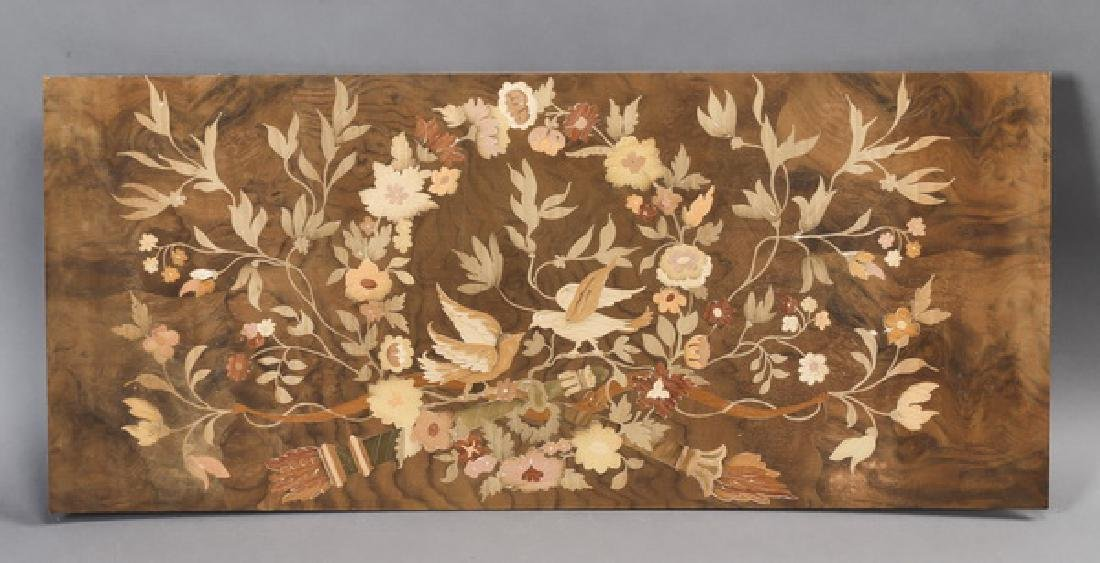 Italian floral marquetry inlaid panel w/ birds