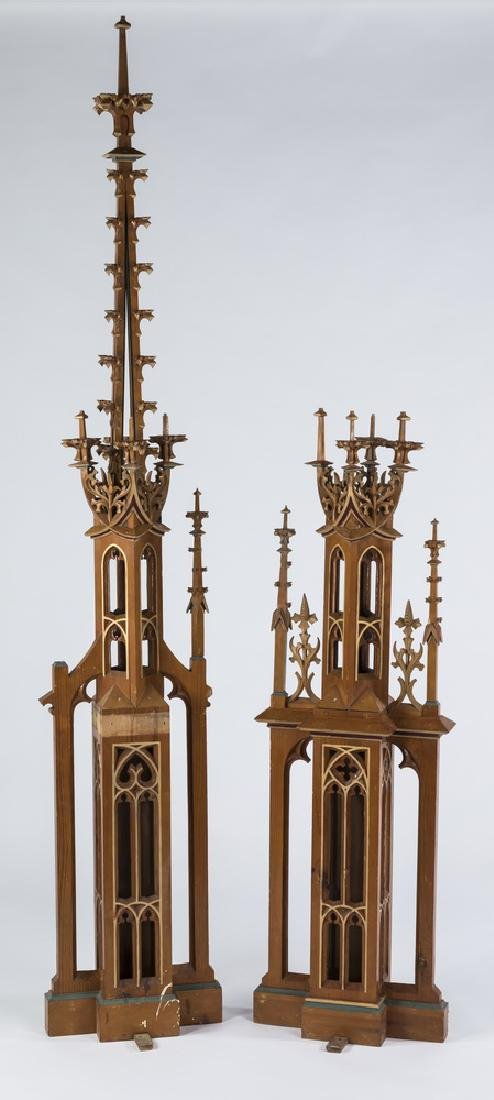 """(2) Gothic Revival style architectural elements, 85"""""""
