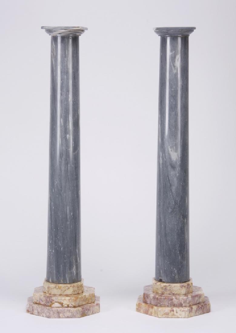 "(2) Continental marble columns, 34""h"