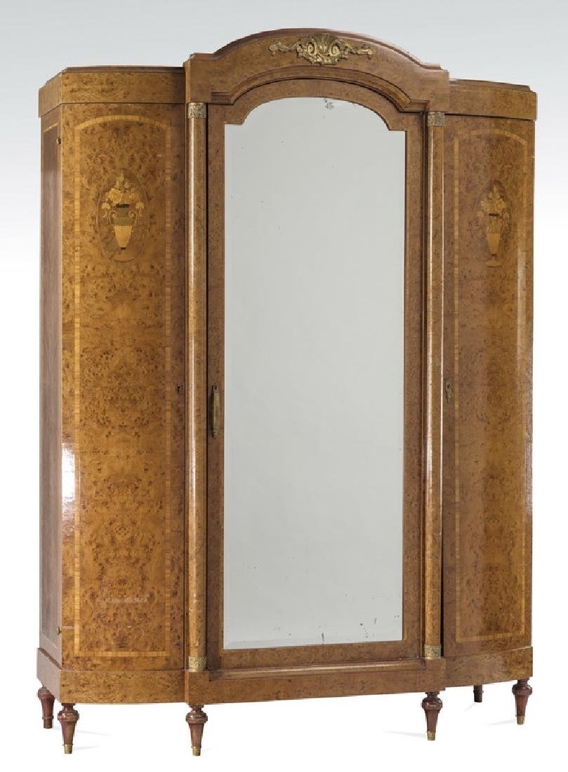 Louis XVI style triple door burl walnut armoire