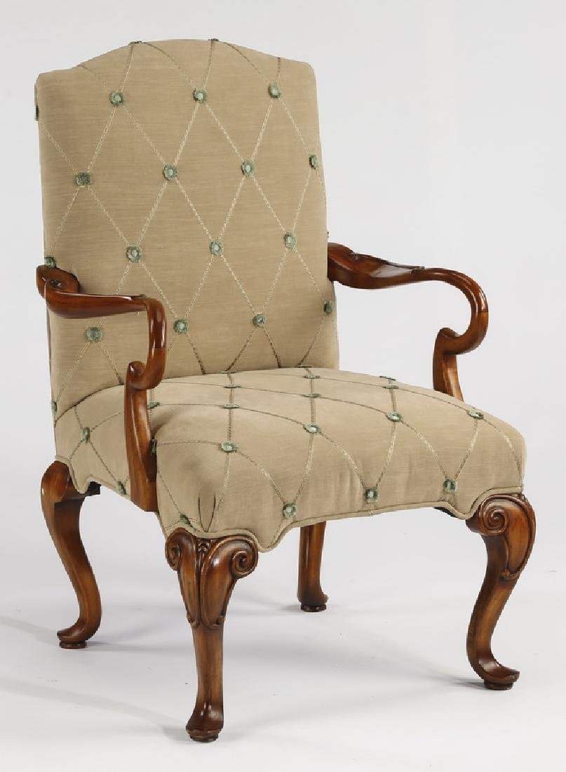 French style chenille upholstered armchair