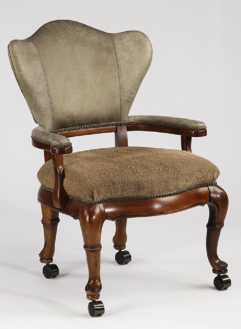 English inspired armchair in faux leather & chenille