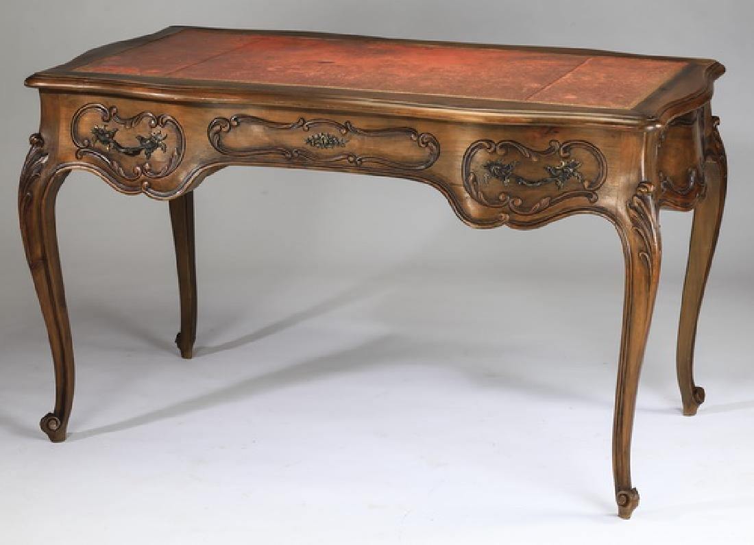 Early 20th c. French leather top bureau plat