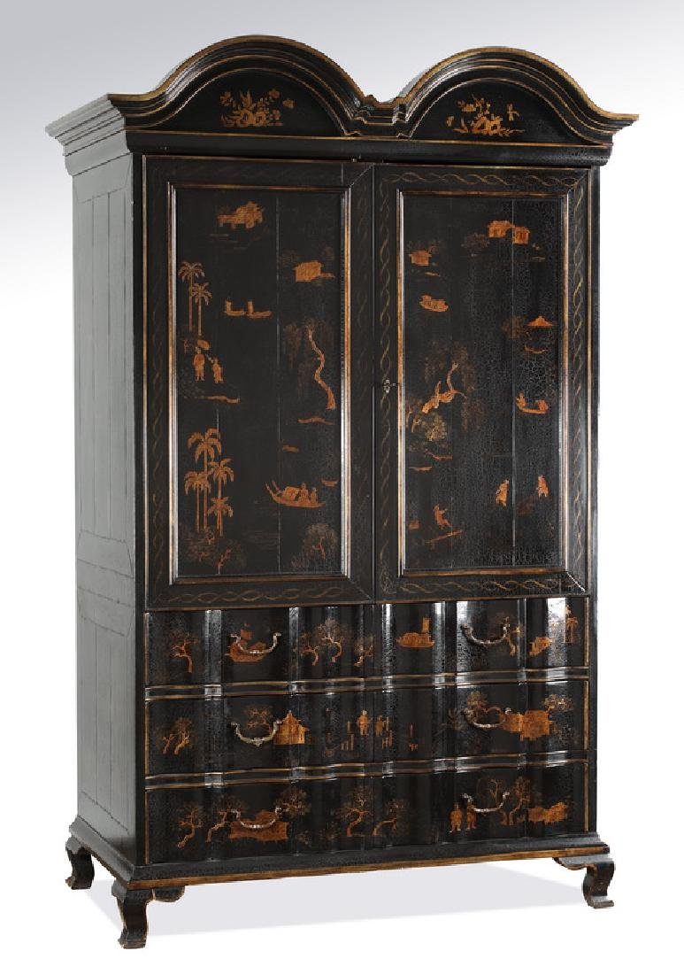 "Chinoiserie inspired double bonnet armoire, 86""h"