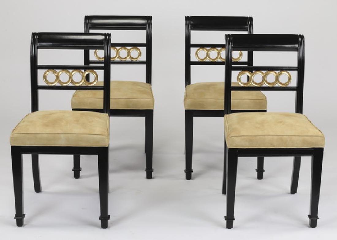 (4) Neoclassical style side chairs w/ suede seats