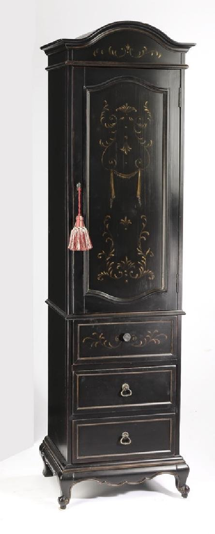Slim, ebonized French style cabinet