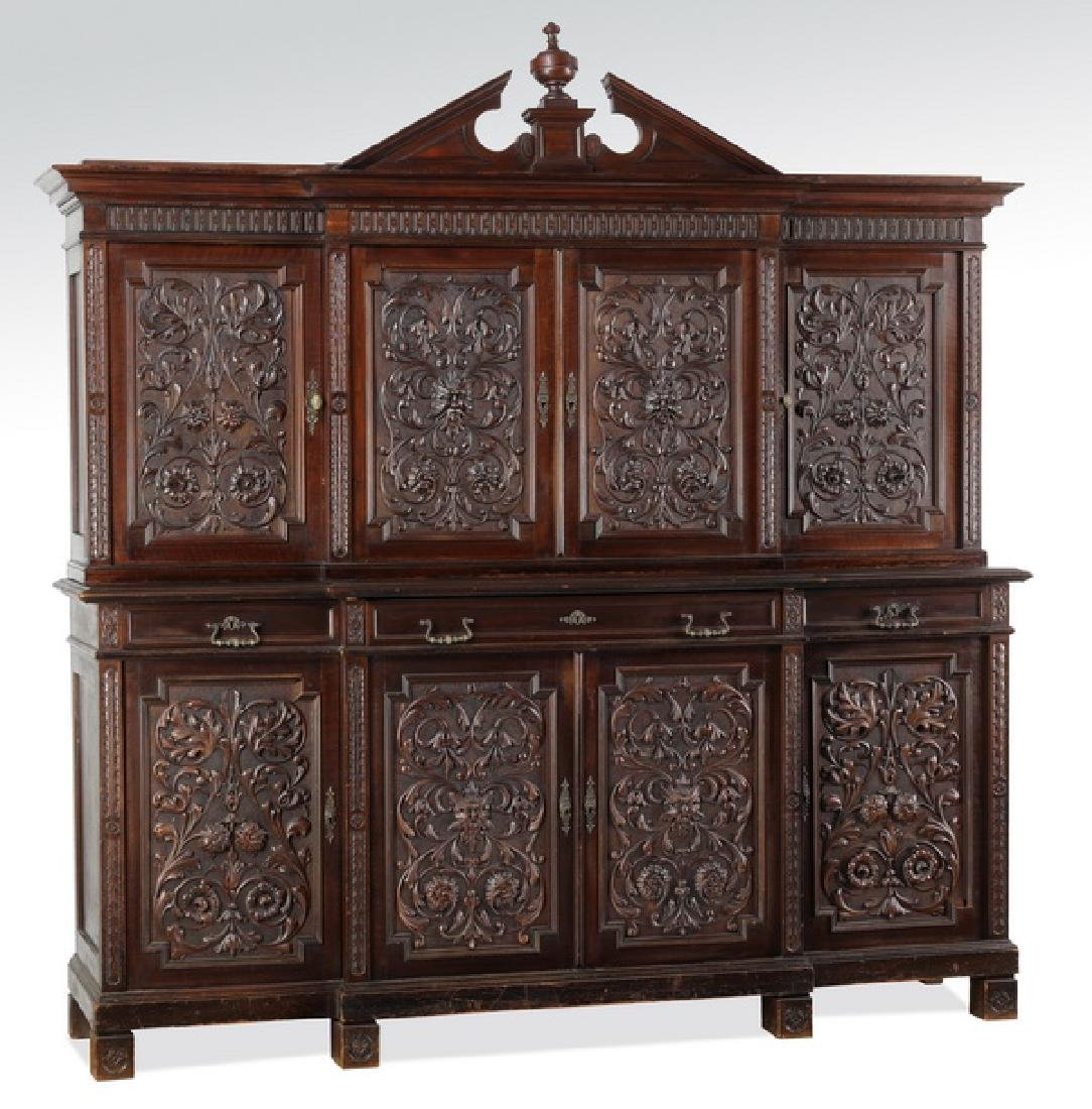 19th c. Italian carved walnut cabinet
