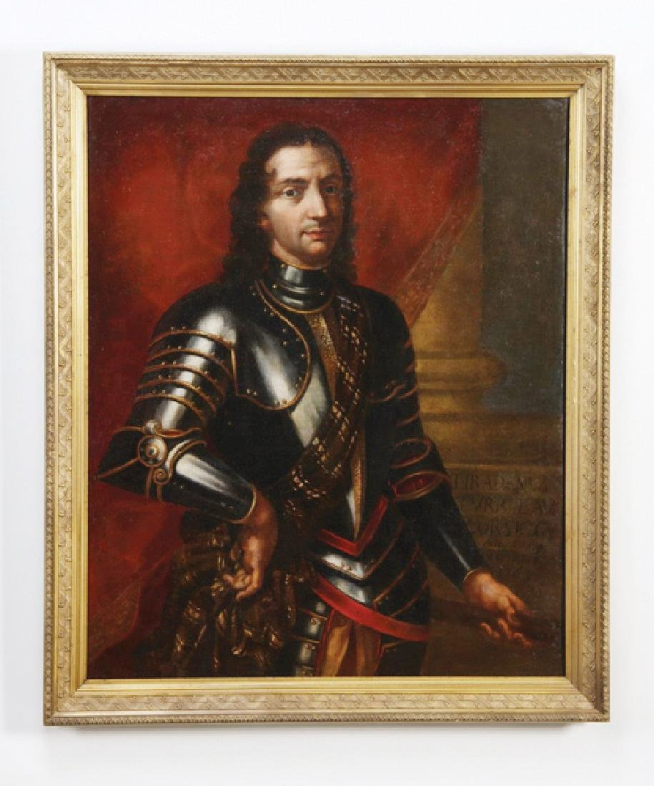 18th c. Continental O/c portrait of nobleman in armor
