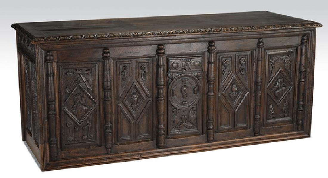 19th c. French Jacobean style carved oak desk