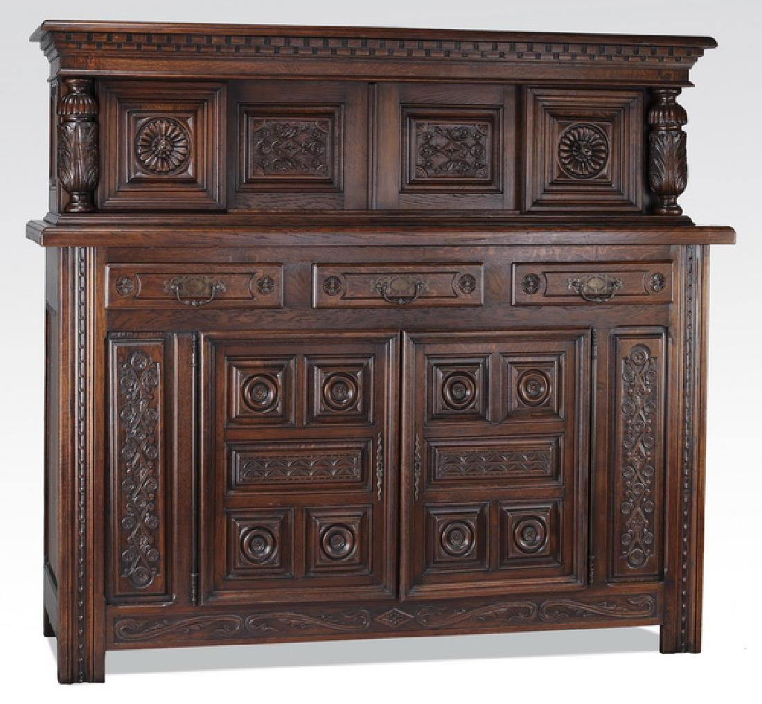 19th c. carved oak sideboard