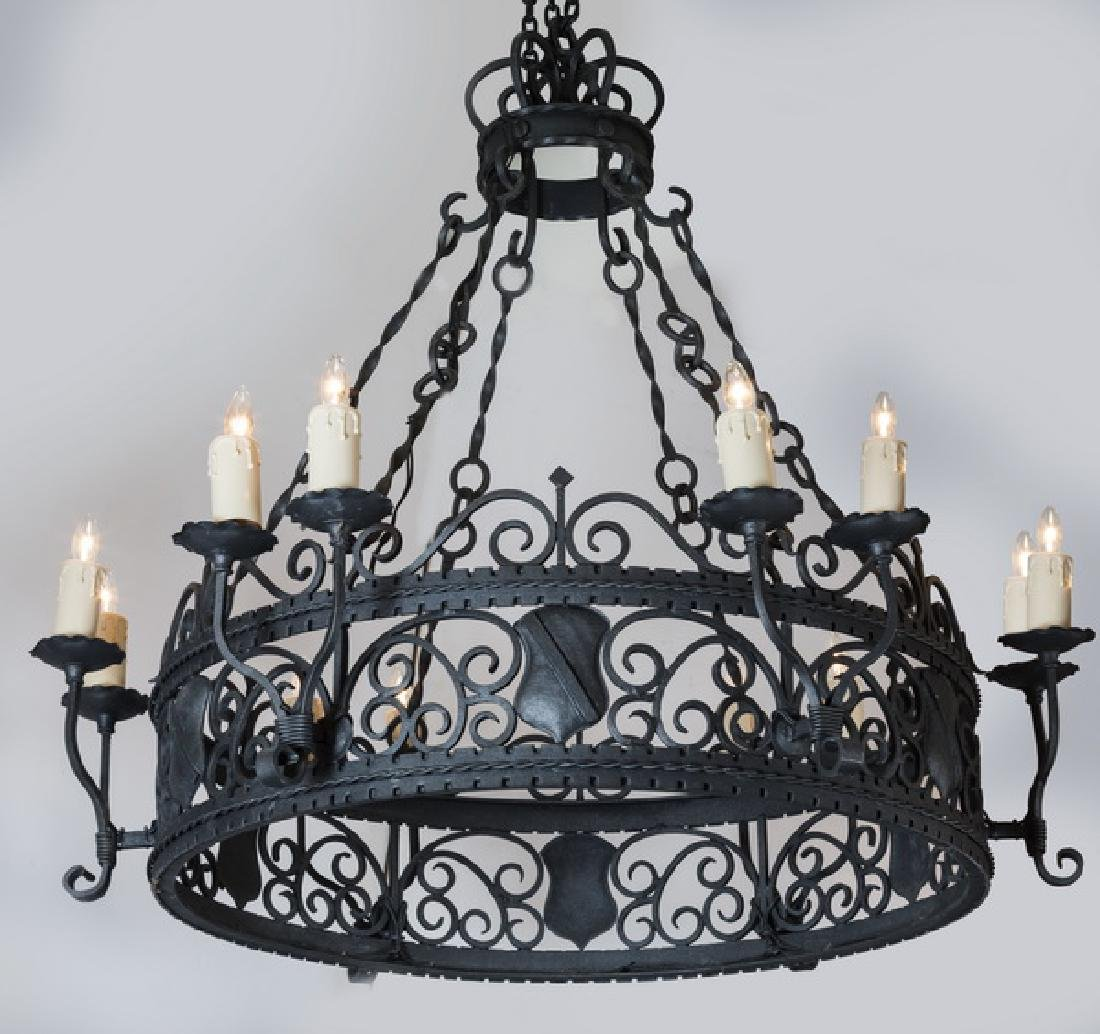 Continental Gothic Revival wrought iron chandelier