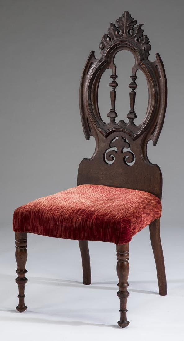 "19th c. Edwardian mahogany salon chair, 42""h"