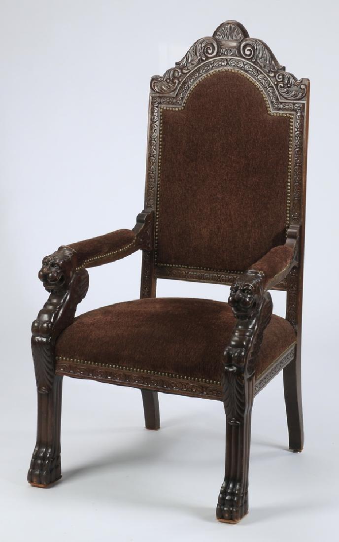 19th c. carved Italian throne chair  in velvet
