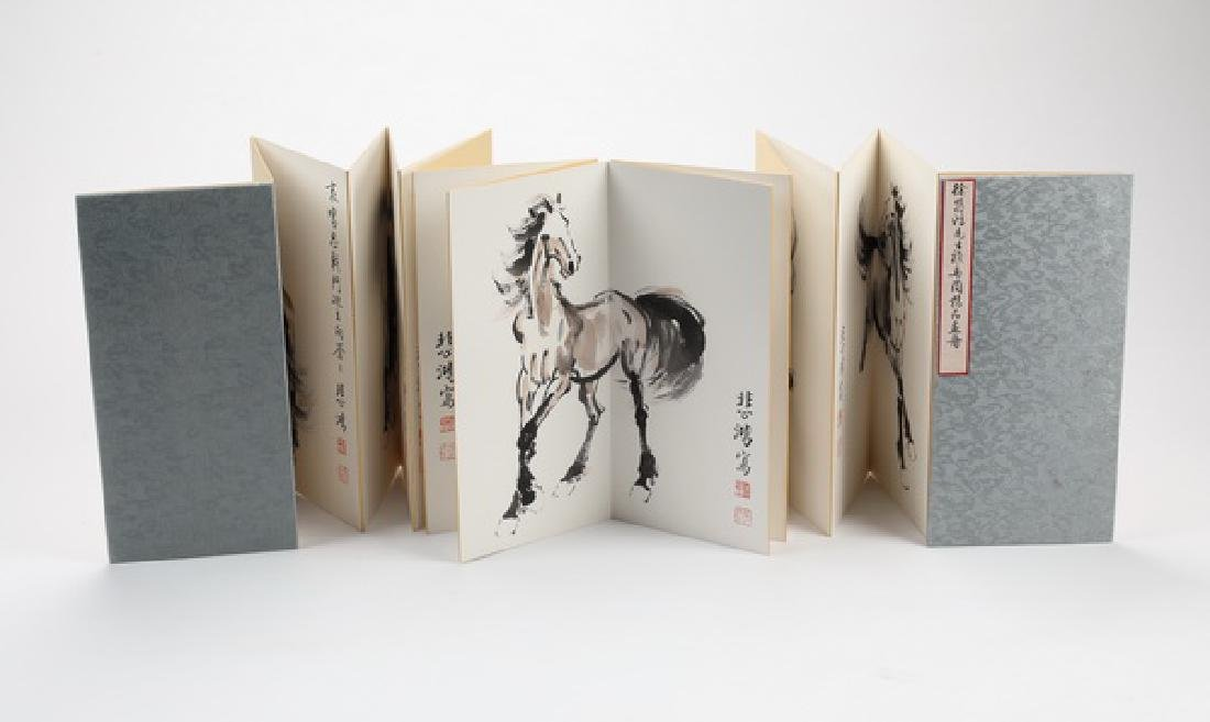 Chinese Orihon style watercolor book depicting horses