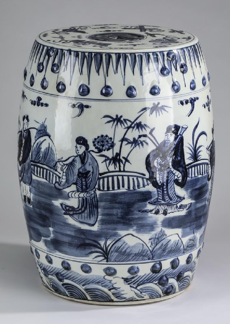Chinese Republic Period blue & white garden seat
