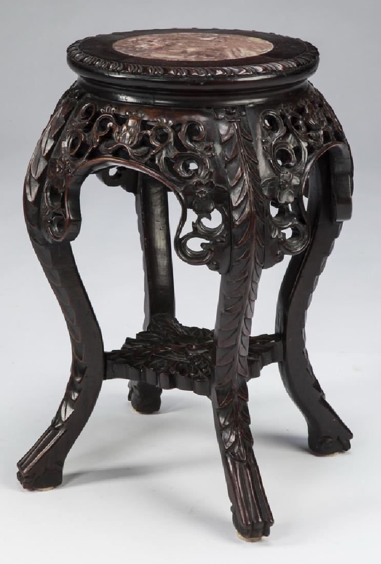 """Chinese pierce carved marble top plant stand, 20""""h"""