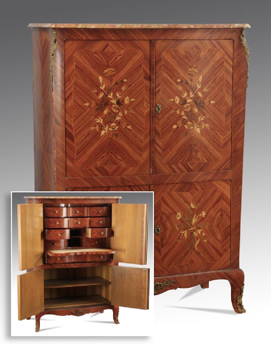 "Louis XVI style marquetry secretaire, 56""h"