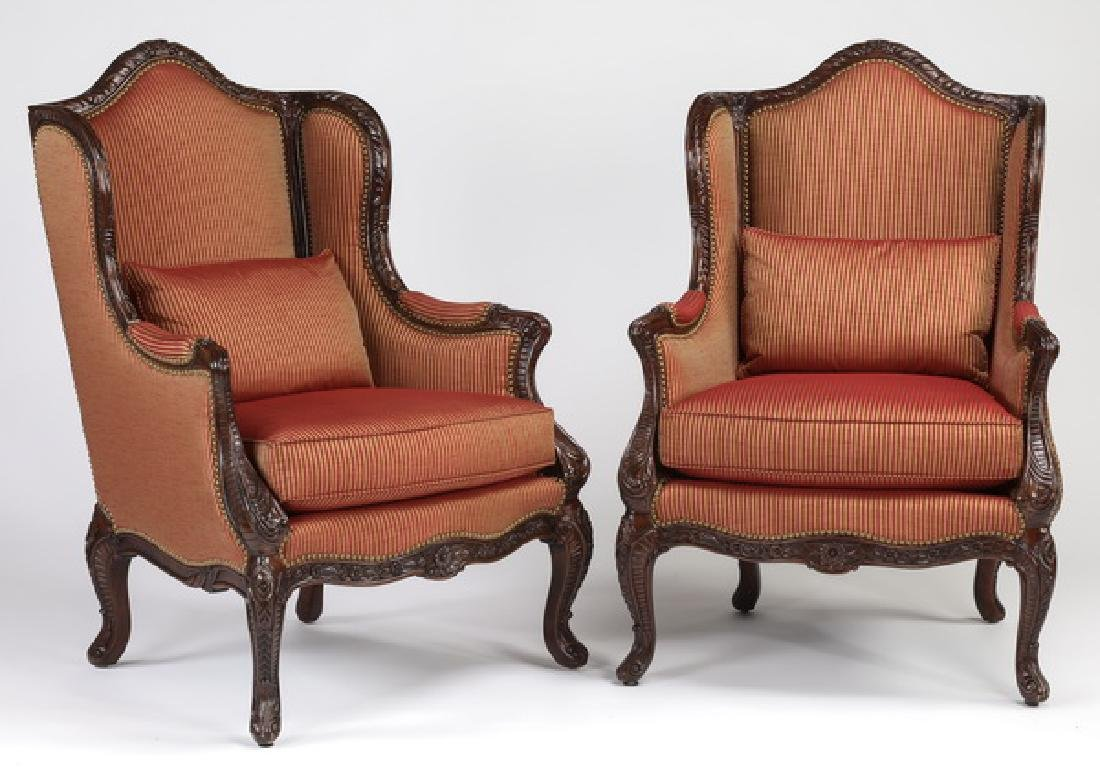 (2) E.J. Victor silk upholstered wingback chairs
