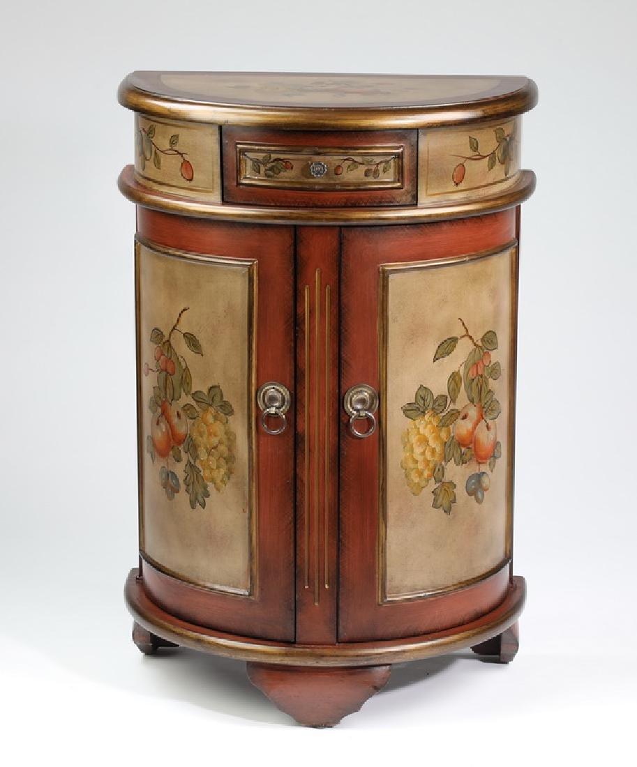 "Diminutive paint decorated demi-lune cabinet, 32""h"