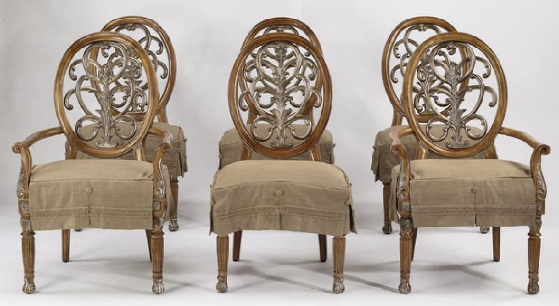 (6) Carved balloon back slip covered dining chairs