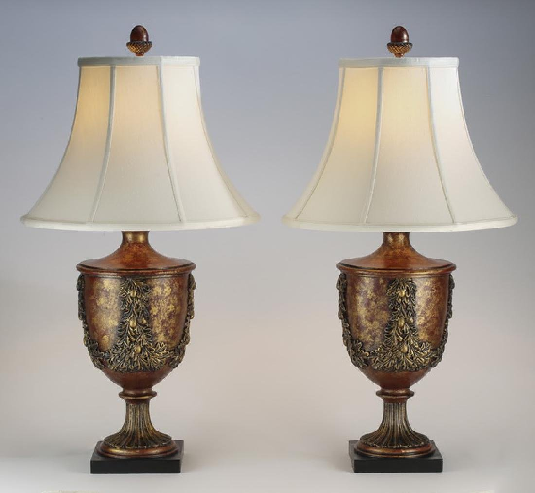 (2) Neoclassical style paint deocorated lamps