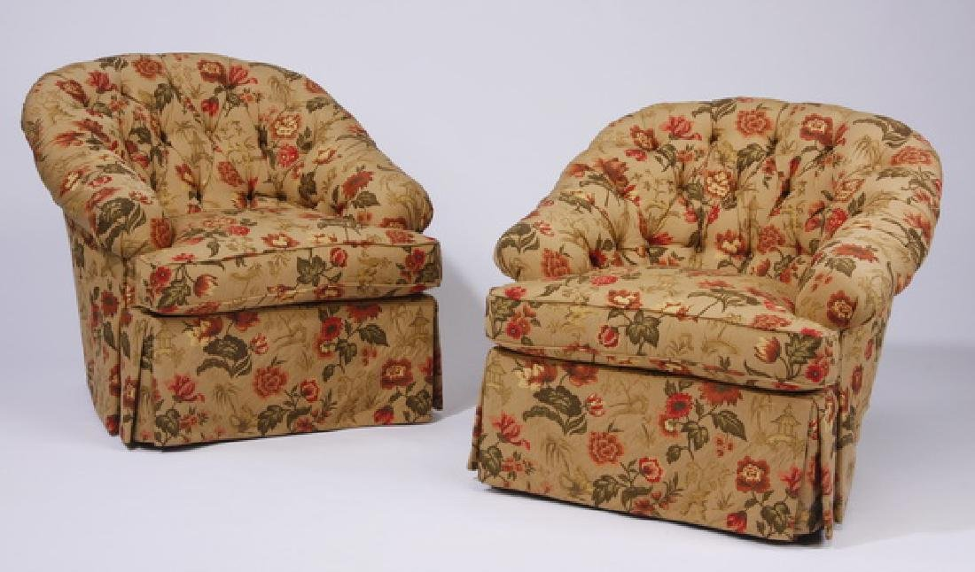 (2) Custom designed chairs w/ chinoiserie fabric