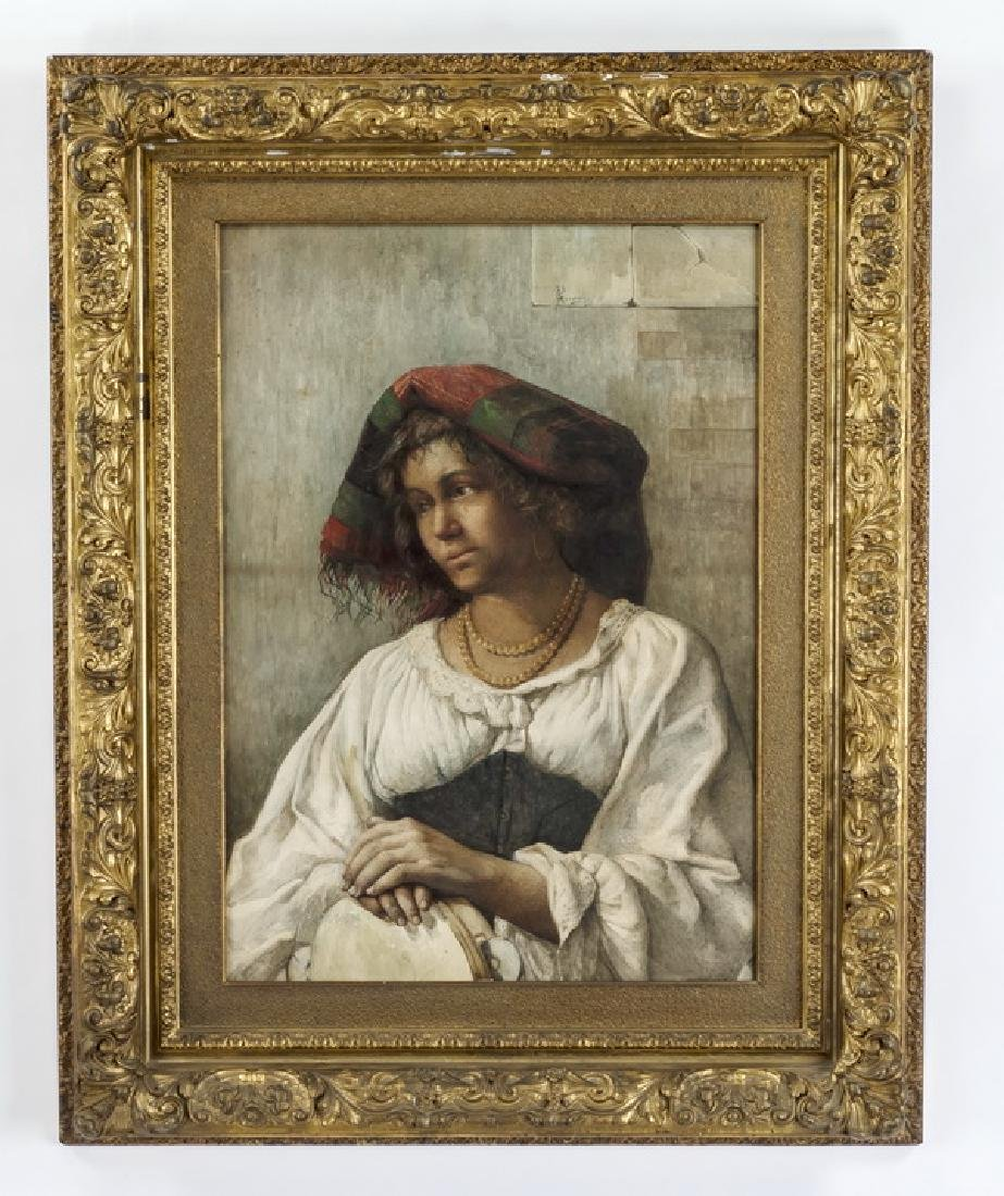 19th c. Italian W/c of peasant woman w/tambourine