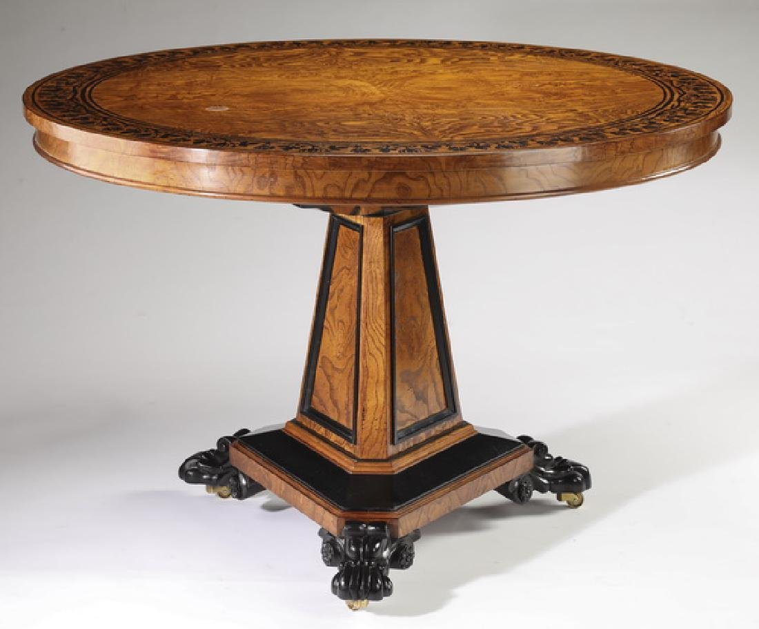 George Bullock for Baker burl ash veneer table