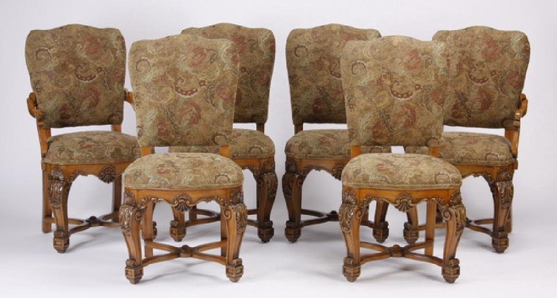 "(6) Italian carved walnut dining chairs, 42""h"