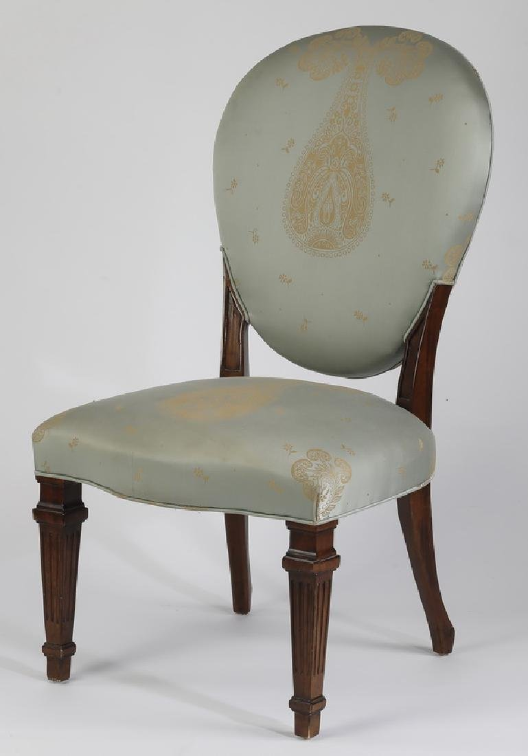 Century balloon back chair in blue damask