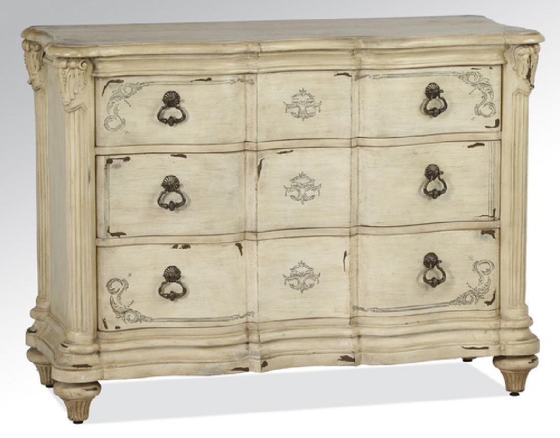 French Provincial style cream paint-decorated chest