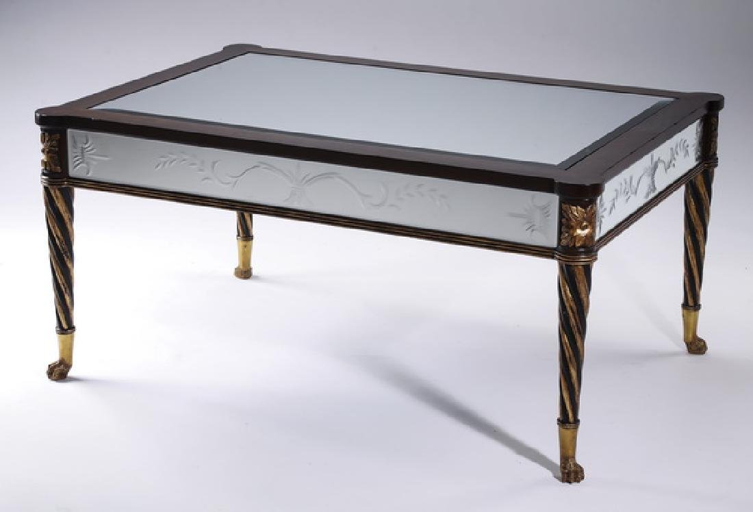 Empire style paint decorated mirrored coffee table