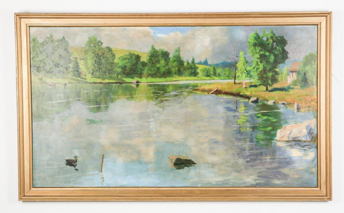 20th c. American O/masonite of a country lake