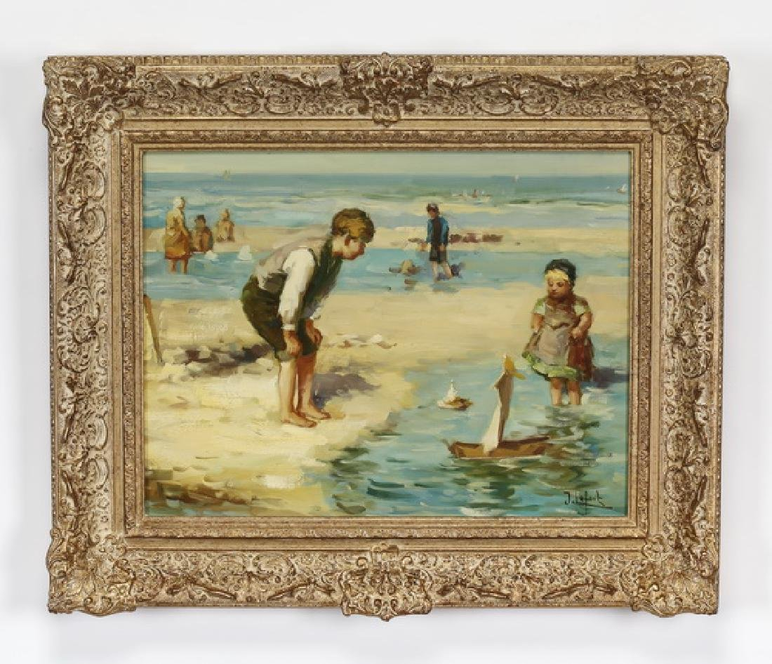 Jean Lefort signed O/panel of children at the beach