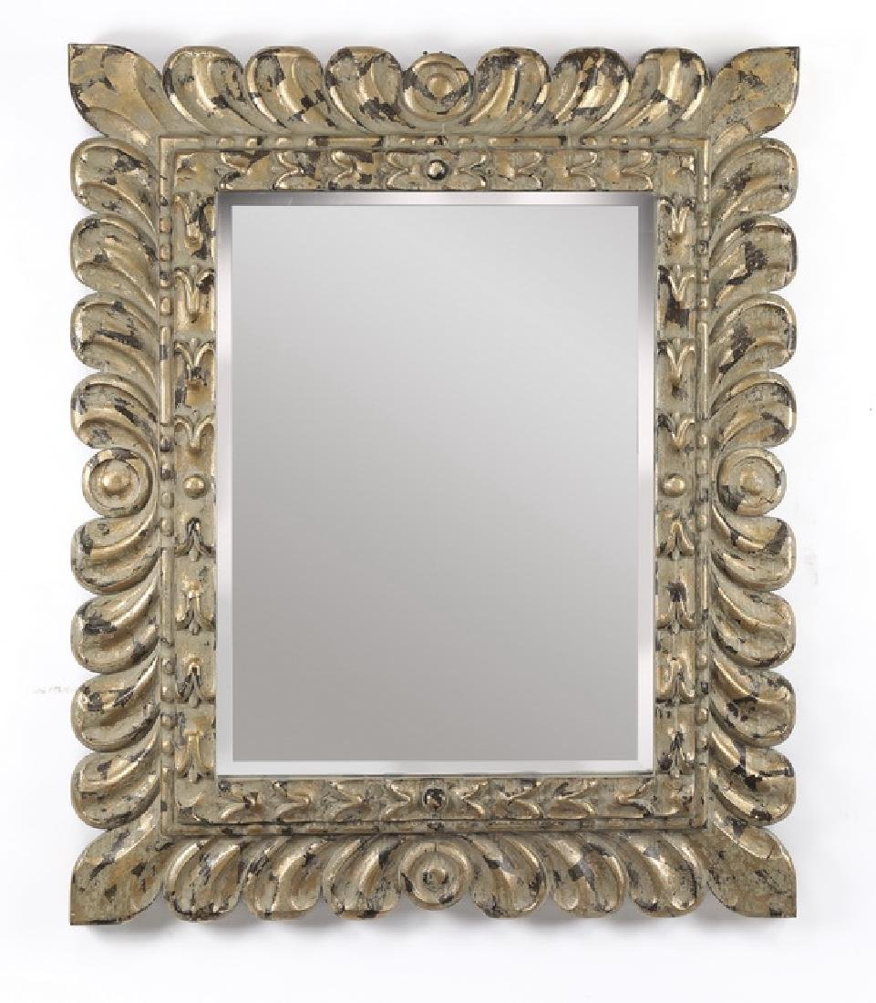 Continental style mirror w/ distressed gilding