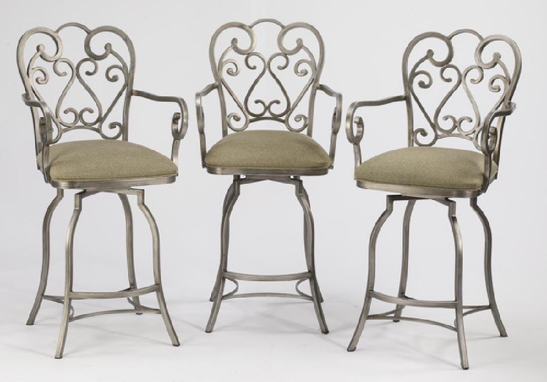 (3) French Provincial inspired swivel barstools