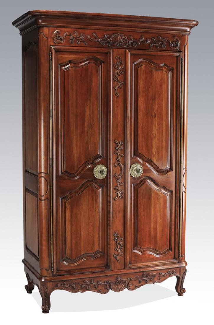 """French Provincial style mahogany armoire, 86""""h"""