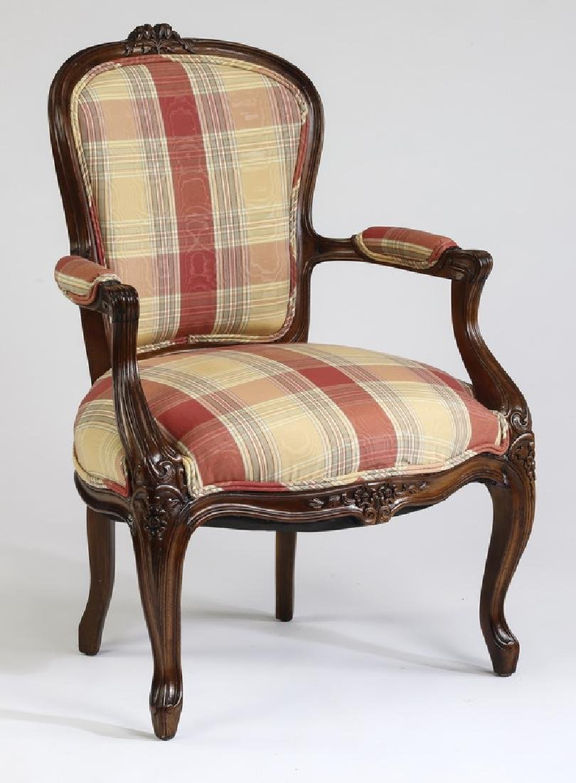 Louis XV style armchair upholstered in plaid moire'