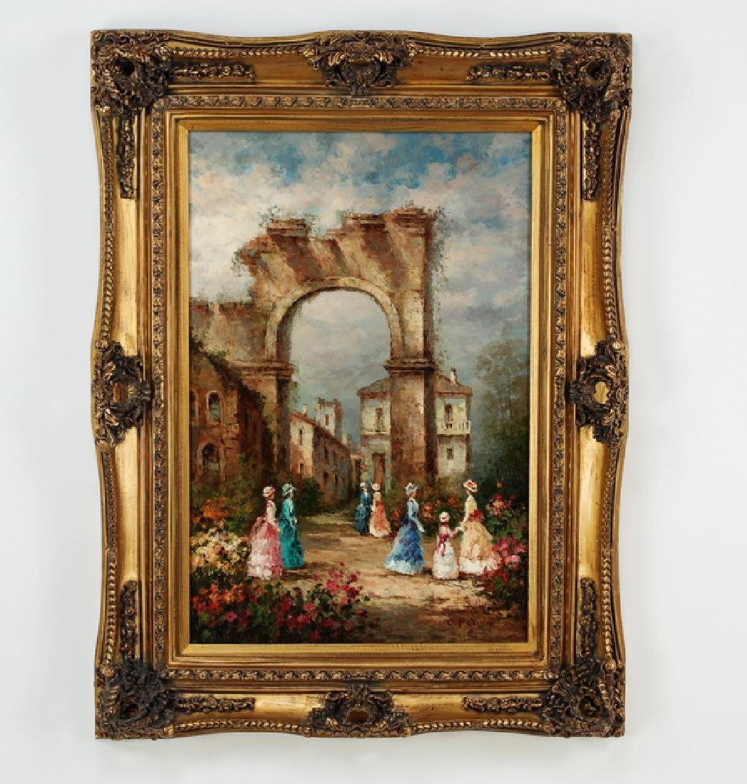 Impressionist style O/c of Capriccio scene, signed