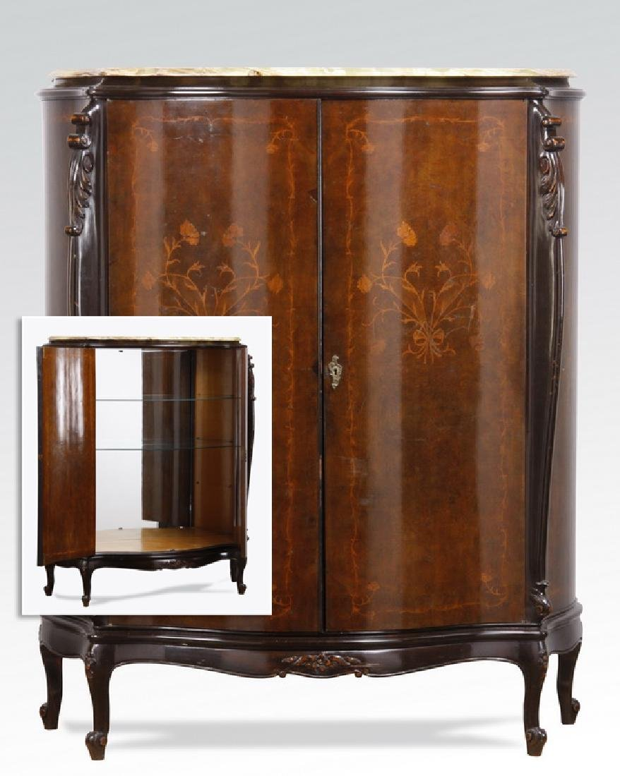 Italian marquetry inlaid marble top cabinet