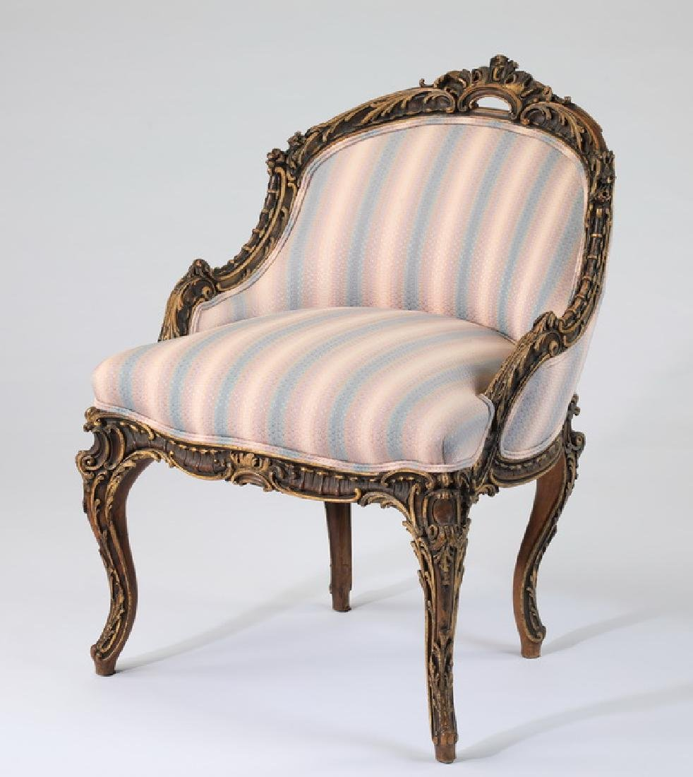 "Louis XV style upholstered petit bergere, 32""h"