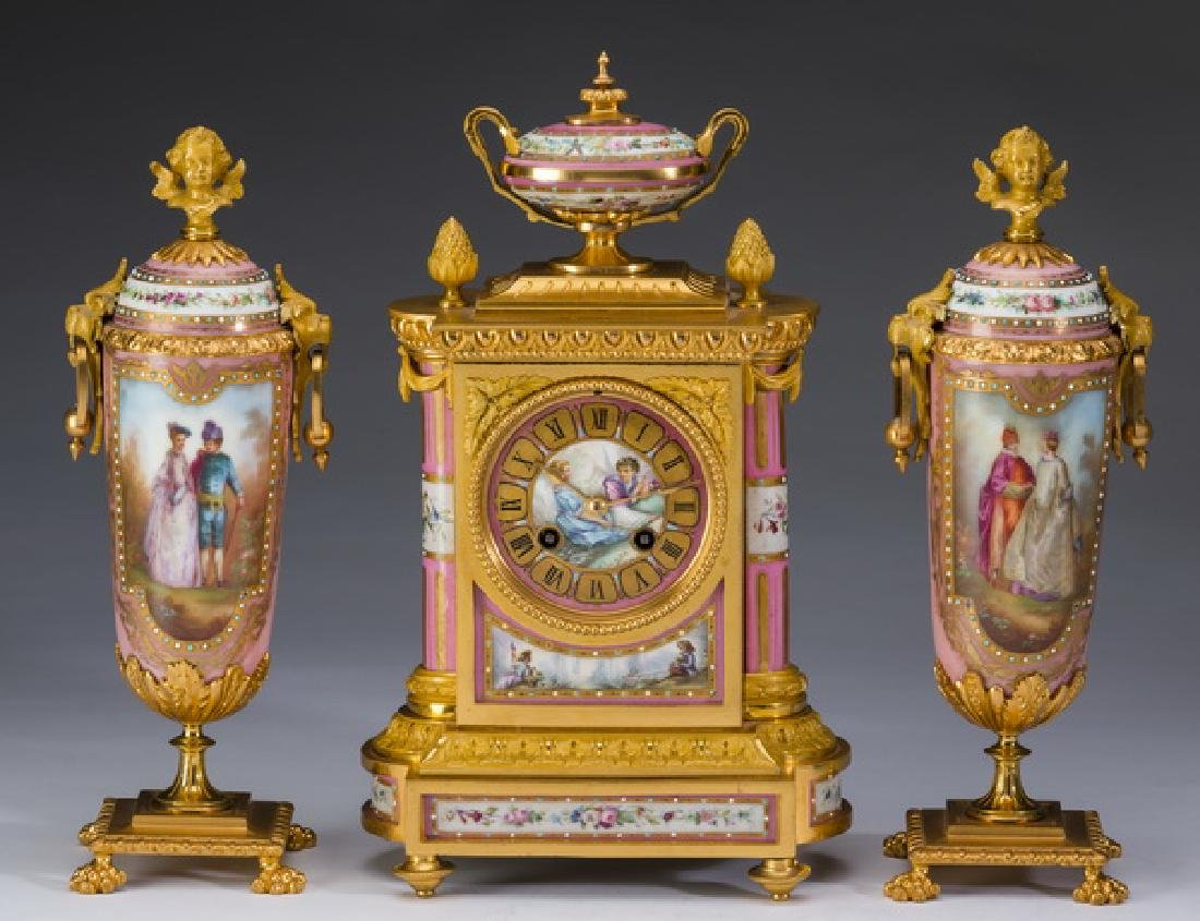 3-Pc. French porcelain and gilt metal clock garniture