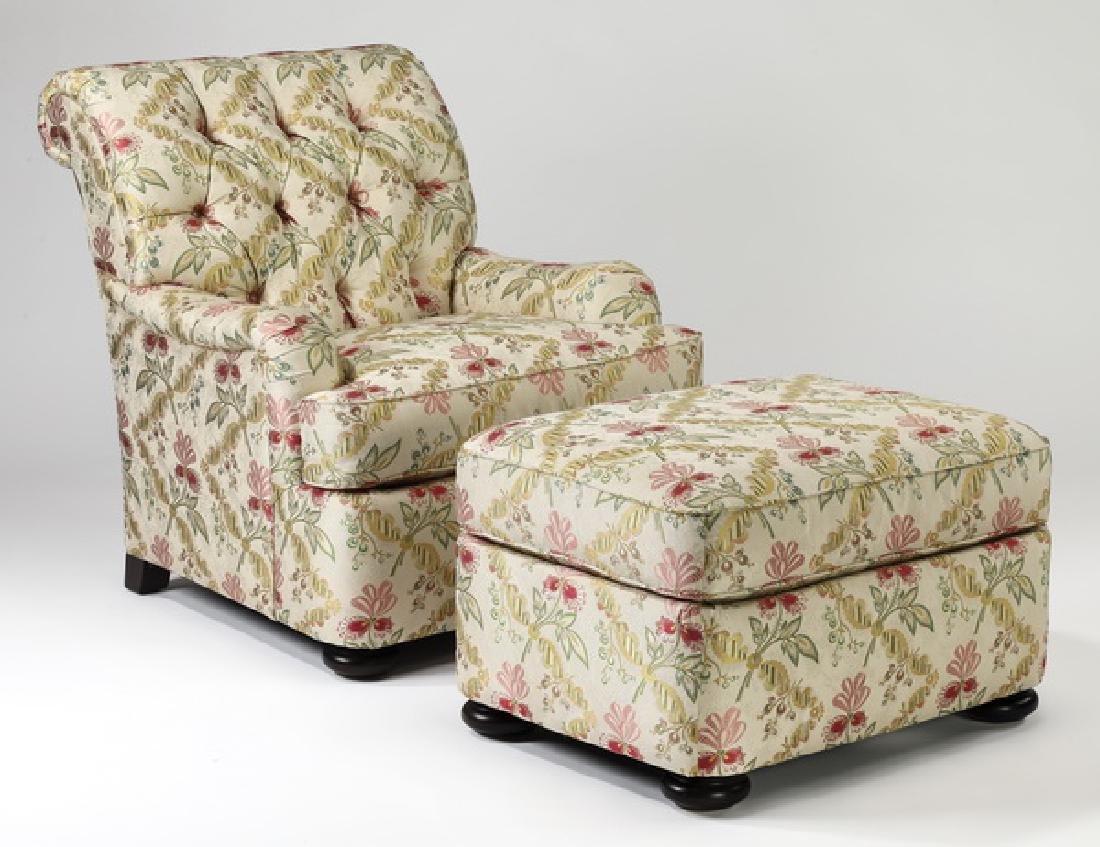 Henredon button tufted armchair & ottoman