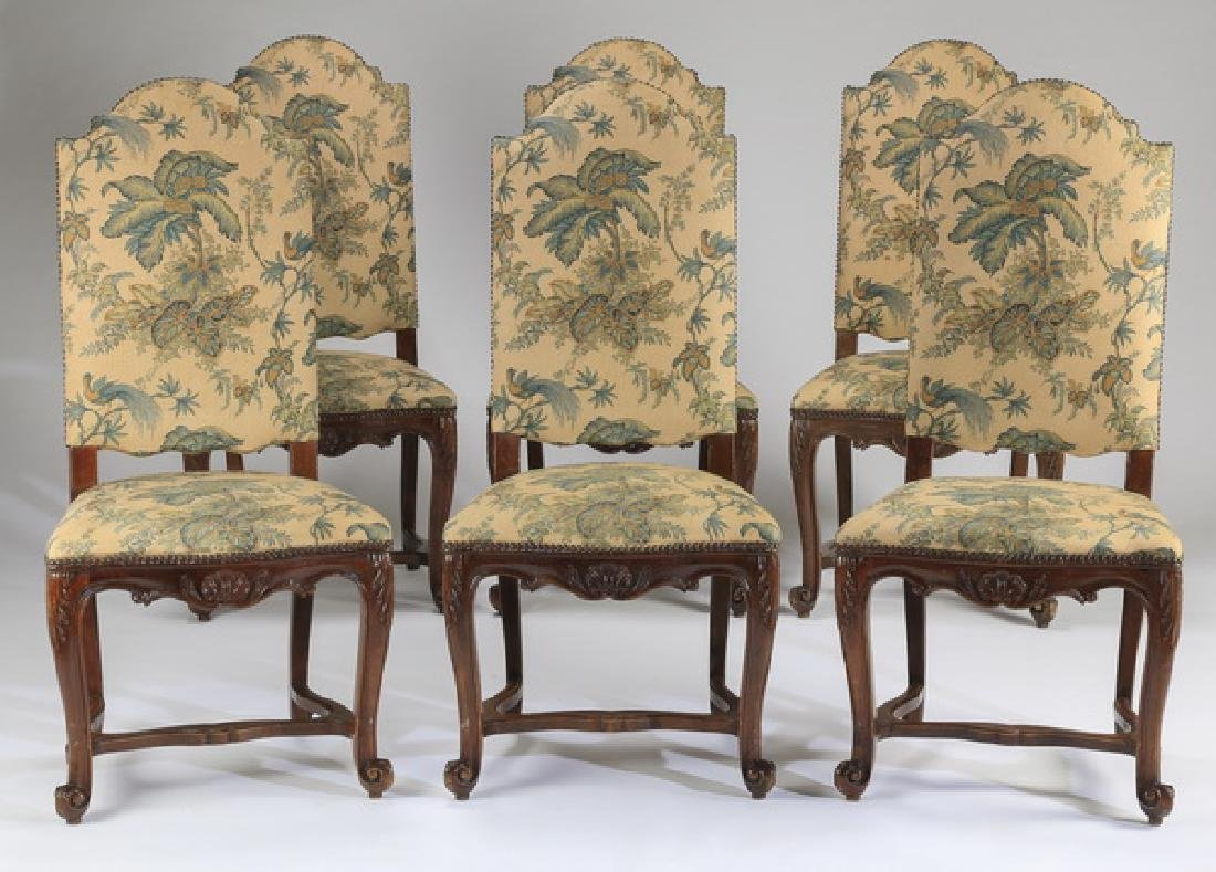 "(6) French Provincial side chairs, 46""h"