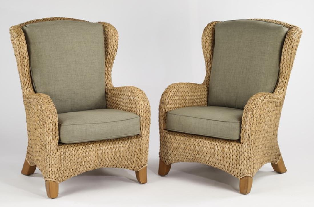 (2) Woven rush wingback chairs w/ loose cushions
