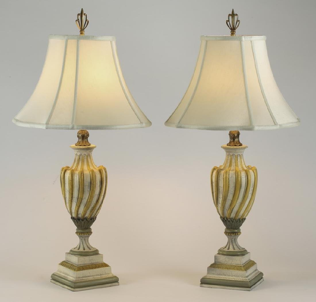 (2) French Provincial style paint decorated lamps
