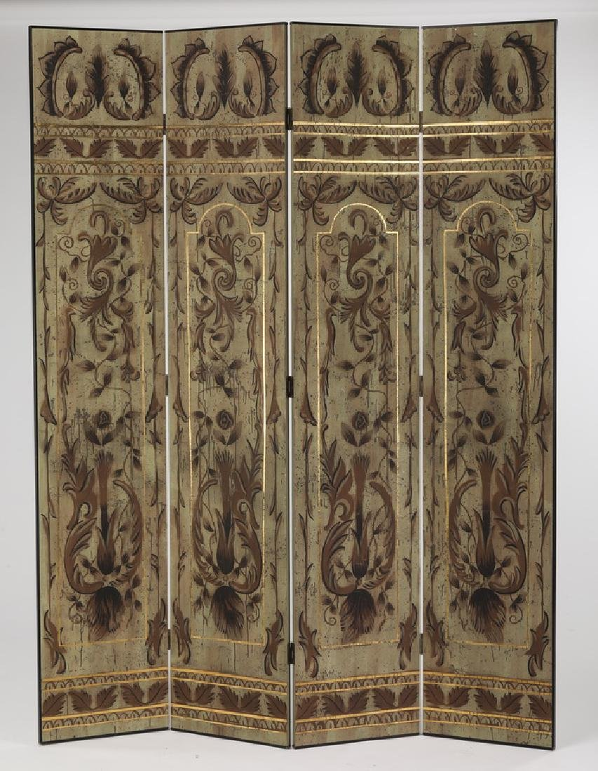 Contemporary paint decorated four panel screen