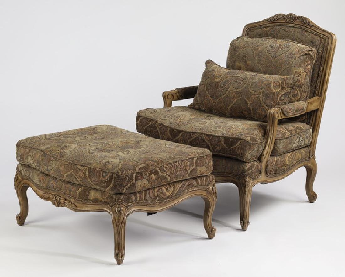 French style upholstered armchair & ottoman